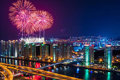 White Fireworks Photograph - Boom Over The City by Keith Homan