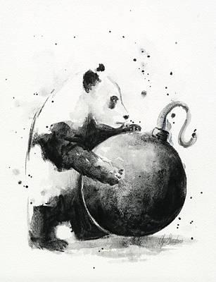 Bomb Painting - Boom Panda by Olga Shvartsur