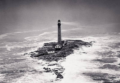 Beach Royalty-Free and Rights-Managed Images - Boon Island Light Tower circa 1950 by Aged Pixel
