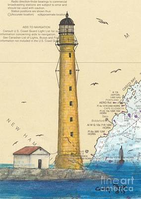 Boon Painting - Boon Island Lighthouse Me Chart Art Cathy Peek by Cathy Peek