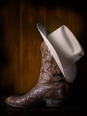 Cowboy Hat Photograph - Boot And Cowboy Hat by David and Carol Kelly