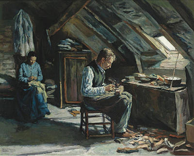 Luce Painting - Boot-maker On Mansarde by Maximilien Luce