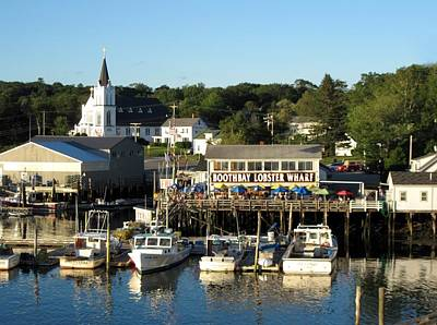 Boothbay Lobster Wharf Maine Art Print by Patricia E Sundik