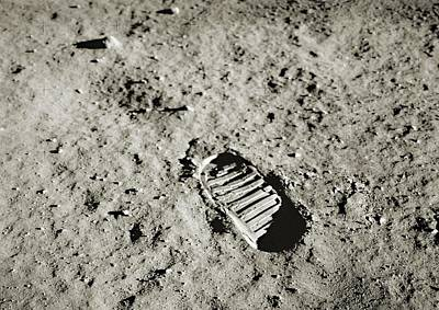 Buzz Photograph - Bootprint On The Moon by Nasa/detlev Van Ravenswaay