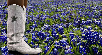 Digital Art - Boots And Bluebonnets by Carrie OBrien Sibley