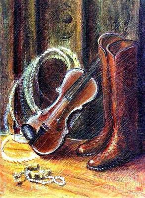 Painting - Boots And Pearls by Barbara Lemley