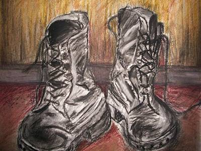 Art Print featuring the mixed media Boots In The Hall Way by Teresa White