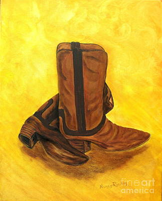 Wild West Days Painting - Boots by Nancy Rucker