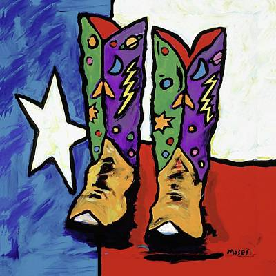 Painting - Boots On A Texas Flag by Dale Moses