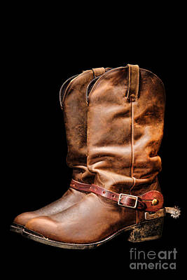 Cowboy Boots Photograph - Boots On Black by Olivier Le Queinec