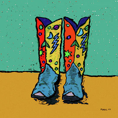 Painting - Boots On Teal by Dale Moses