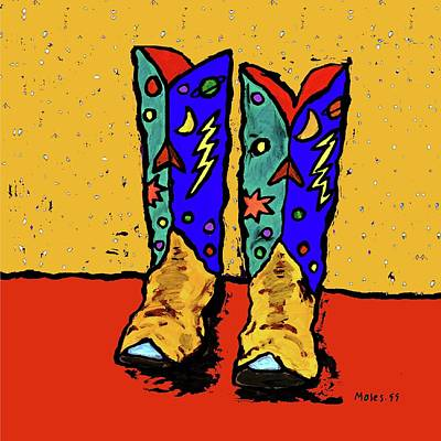 Painting - Boots On Yellow by Dale Moses