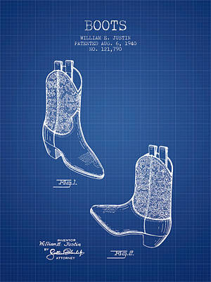 Shoe Digital Art - Boots Patent From 1940 - Blueprint by Aged Pixel