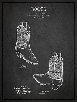 Shoe Digital Art - Boots Patent From 1940 - Charcoal by Aged Pixel