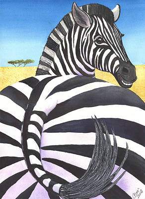Zebra Painting - Bootylicious by Catherine G McElroy