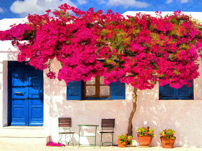 Hydra Island Painting - Bougainvillea by Dominic Piperata
