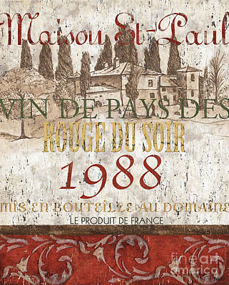 Aged Wood Painting - Bordeaux Blanc Label 1 by Debbie DeWitt