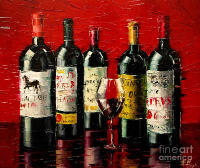 Wine-bottle Painting - Bordeaux Collection by Mona Edulesco
