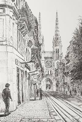 Wine Art Drawing - Bordeaux by Vincent Alexander Booth