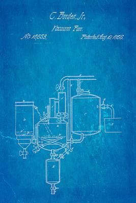 Borden Photograph - Borden Condensed Milk Patent Art 1856 Blueprint by Ian Monk