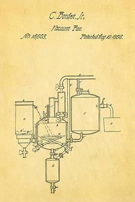 Borden Photograph - Borden Condensed Milk Patent Art 1856 by Ian Monk