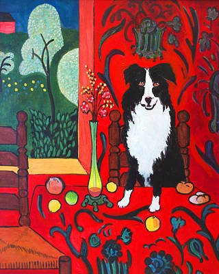 Charles Wallis Painting - Border Collie Matisse by Charles Wallis