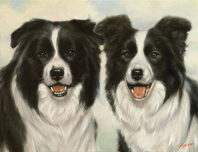 Dry Lake Painting - Border Collie Pair by John Silver