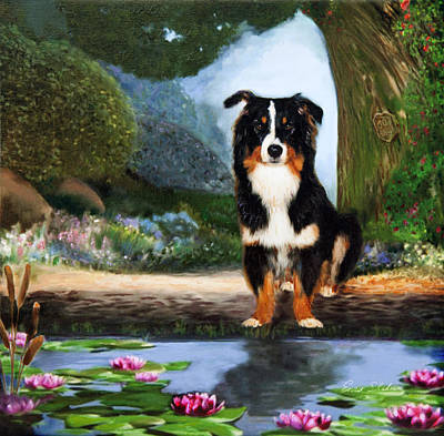 Lilly Pond Painting - Border Collie Portrait  by Enzie Shahmiri