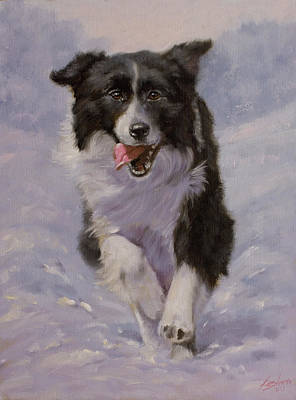 Charcoal Landscape Drawings Painting - Border Collie Portrait II by John Silver