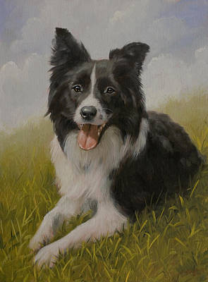 Charcoal Landscape Drawings Painting - Border Collie Portrait Vii by John Silver