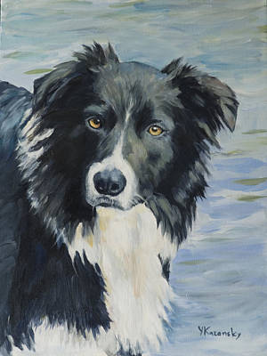 Painting - Border Collie Portrait by Yulia Kazansky
