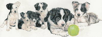 Herding Dog Mixed Media - Border Collie Puppies by Barbara Keith
