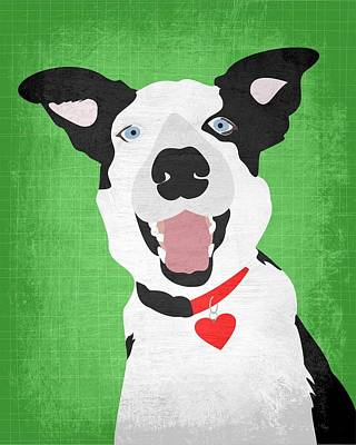 Border Collie Digital Art - Border Collie With Heart by Ginger Oliphant