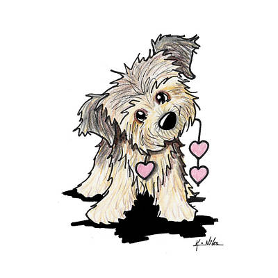 Ebsq Drawing - Border Terrier Heart Strings by Kim Niles