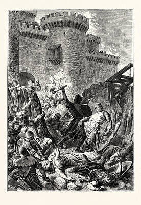 Knights Castle Drawing - Border Warfare Attack Of A Castle by English School