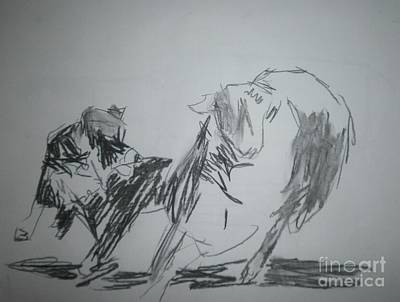 Drawing - Bordercollie And Sheep by Patries Van Dokkum
