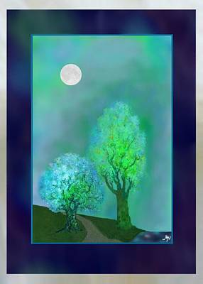 bordered DREAM TREES AT TWILIGHT Art Print by Mathilde Vhargon