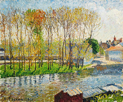 Abstract Water Fall Painting - Bords Du Loing A Moret by Celestial Images