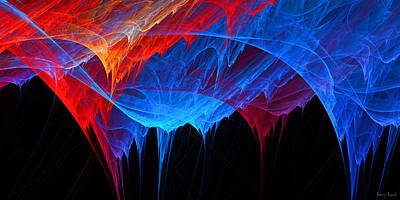 Digital Art - Borealis - Blue And Red Abstract by Lourry Legarde