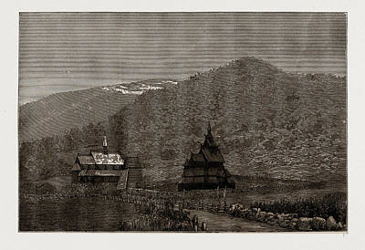 Old Churches Drawing - Borgund Valley, With The Old Church And Belfry by Litz Collection