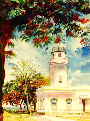Borinquen Painting - Borinquen Lighthouse by Estela Robles