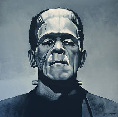 English Painting - Boris Karloff As Frankenstein  by Paul Meijering