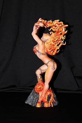 Sculpey Sculpture - Boris Vallejo Mistress Of Fire Tribute Statue by Mark Harris
