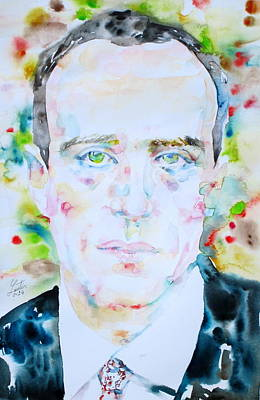 Painting - Boris Vian - Watercolor Portrait by Fabrizio Cassetta