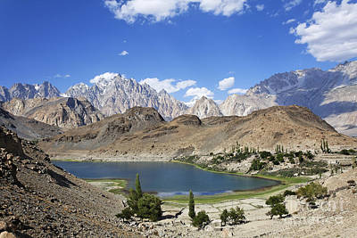 Borith Lake And Mountains In Pakistan Art Print by Robert Preston