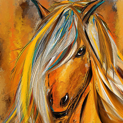 Born Free-colorful Horse Paintings - Yellow Turquoise Print by Lourry Legarde