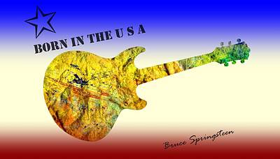The Boss Digital Art - Born In The U S A Bruce Springsteen by David Dehner