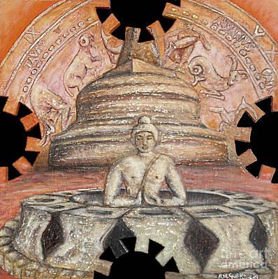 Borobudur Art Print by Anna Maria Guarnieri