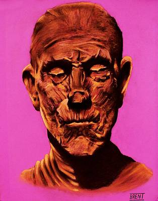 Drawing - Borris 'the Mummy' Karloff by Brent Andrew Doty