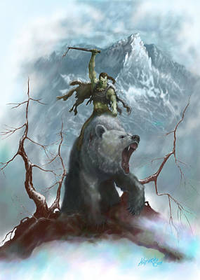 Barbarian Painting - Borus And The Bear by Matt Kedzierski